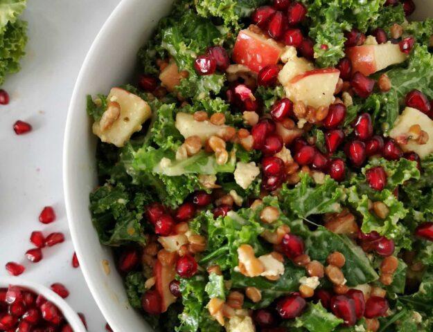 Salade de kale, lentilles et pommes