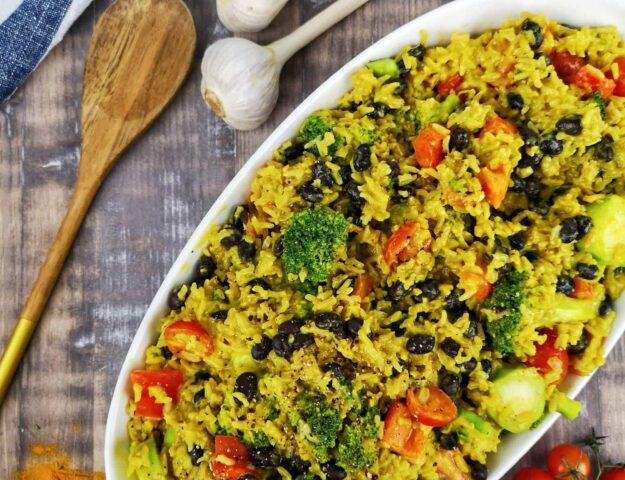 Riz aux haricots noirs et brocoli
